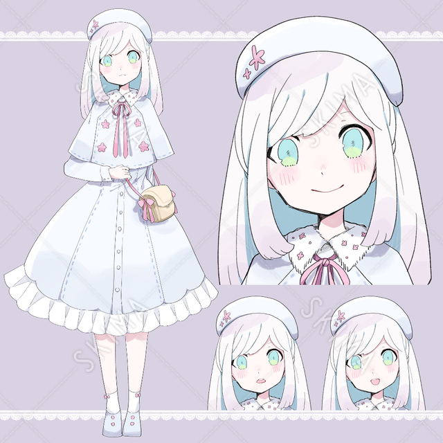 【表情5種】白の子