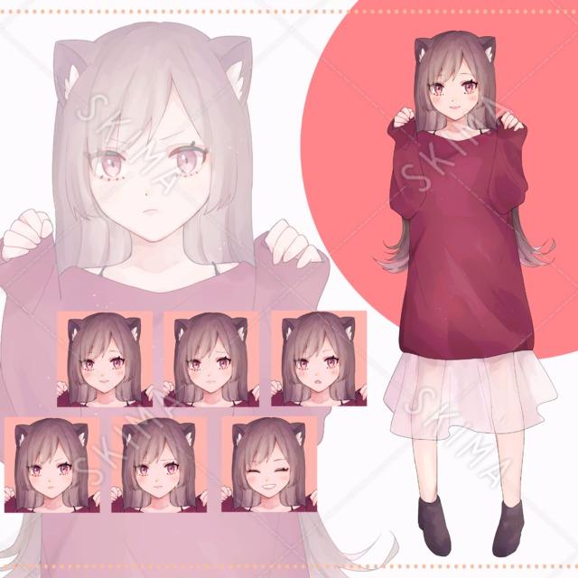 猫耳女の子(表情6種)