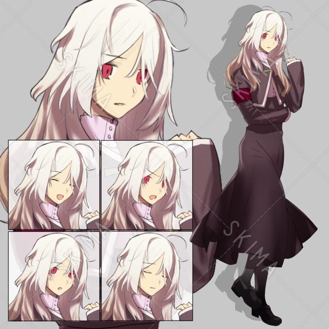 メカクレ白髪の女の子【表情5種】立ち絵全身
