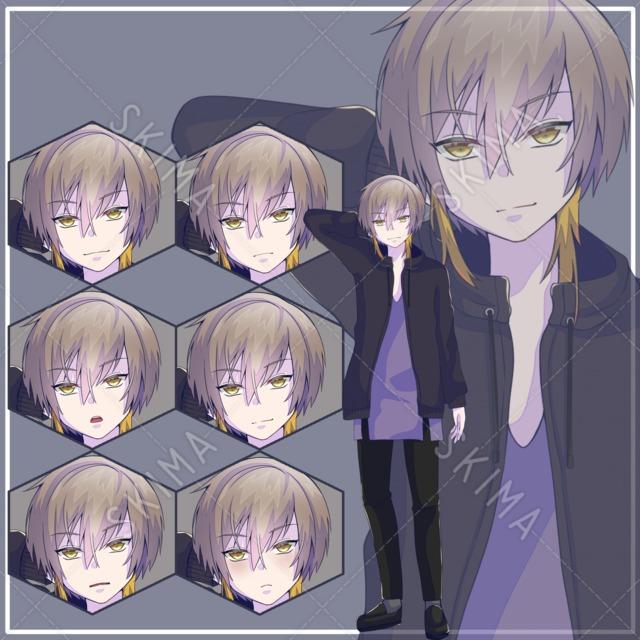 茶髪吊り目の男性〈表情6種〉