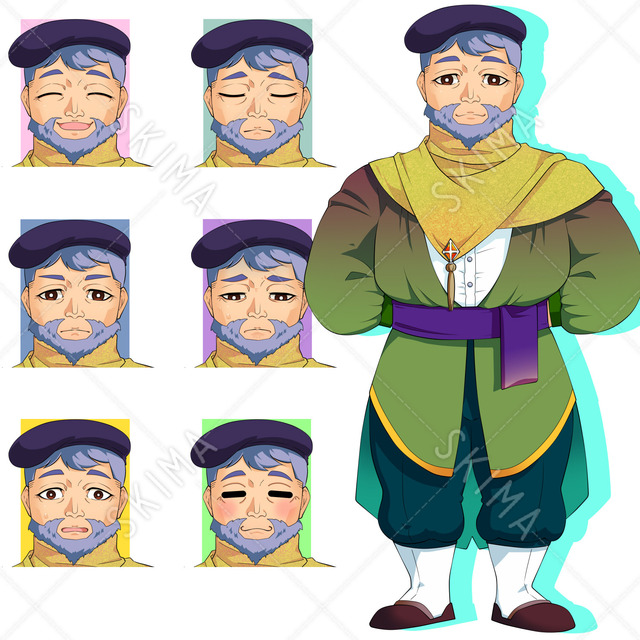 物知り顔のおじさん(表情7種)