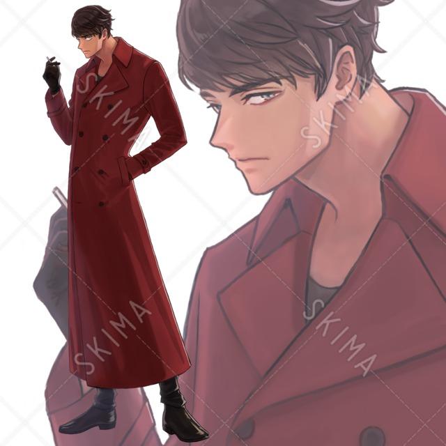 【表情差分4種】赤いコートの男