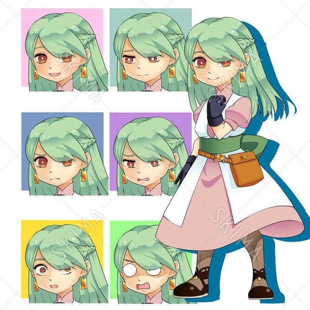 村娘っぽい女の子(表情7種)