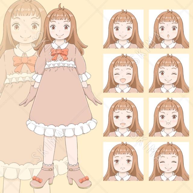 ワンピースを着た女の子(表情全8種)