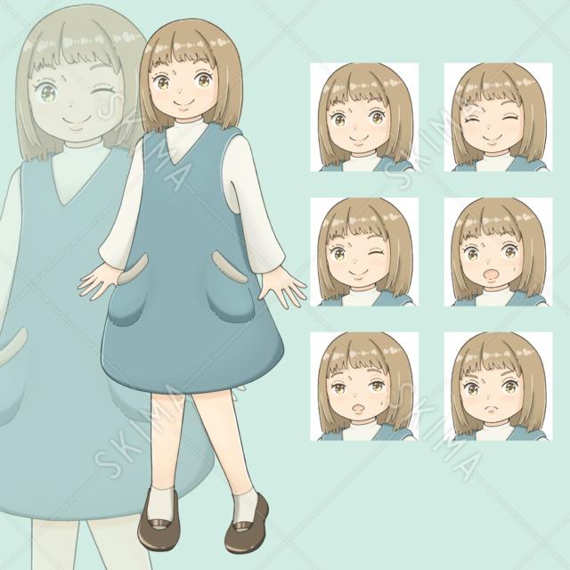 サロペットスカートを着た女の子(表情全6種)