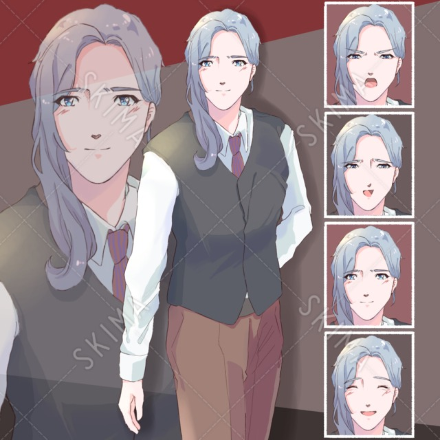 長髪の男性【表情4種】
