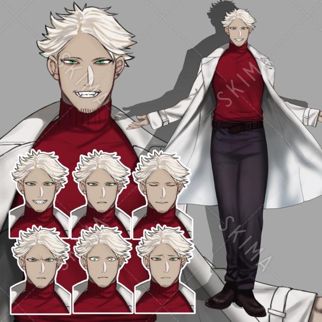 白髪褐色白衣コートの男性【表情6種】