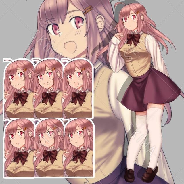 ピンク髪の制服の女の子【表情6種】