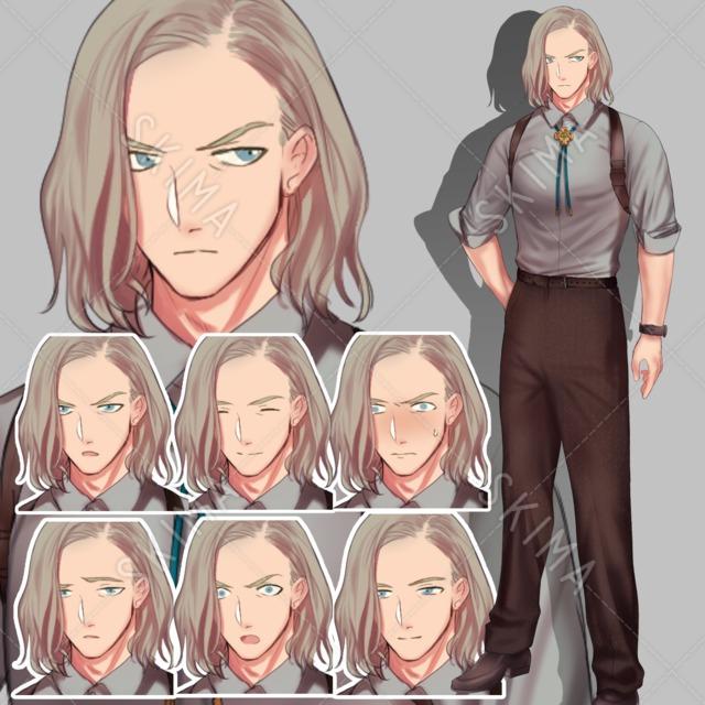 長髪サスペンダースーツの男性【表情7種】