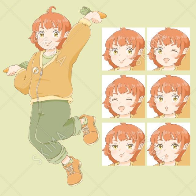 にんじん色のジャケットを着た女の子(表情全6種)