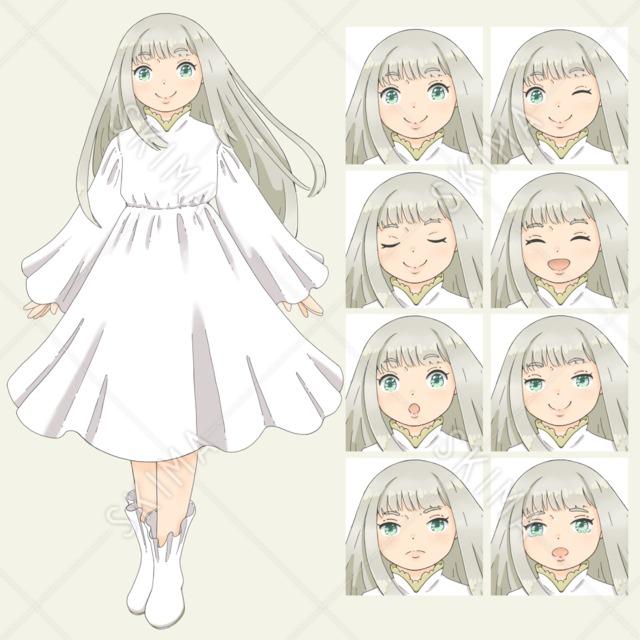 白いワンピースを着た女の子(表情全8種)