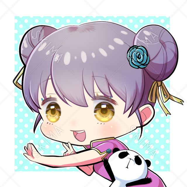 【アイコン】お団子頭の子とパンダ(adopt0004)