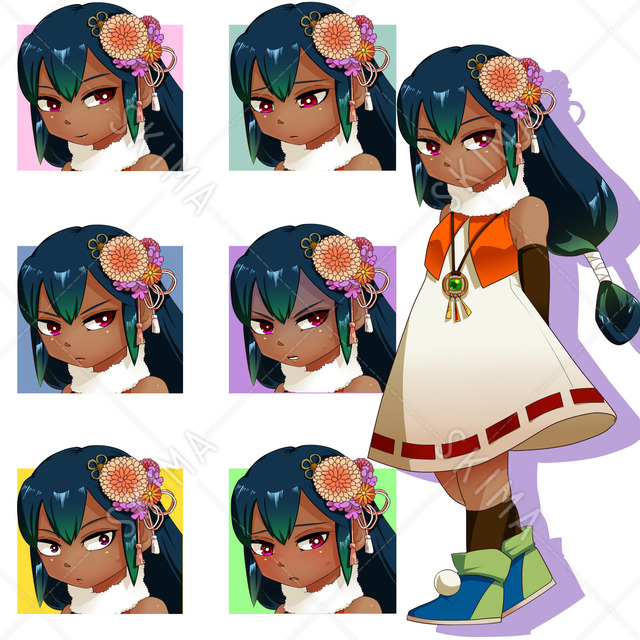 クール系褐色少女(表情7種)