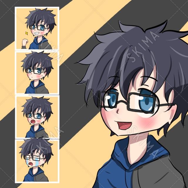 眼鏡男性デフォルメキャラ(表情5種)