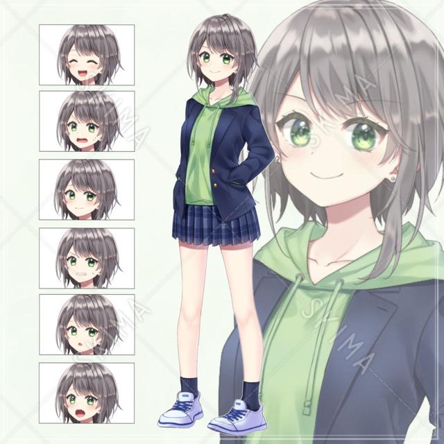 ボーイッシュな女子学生【表情全7種】※お値下げ