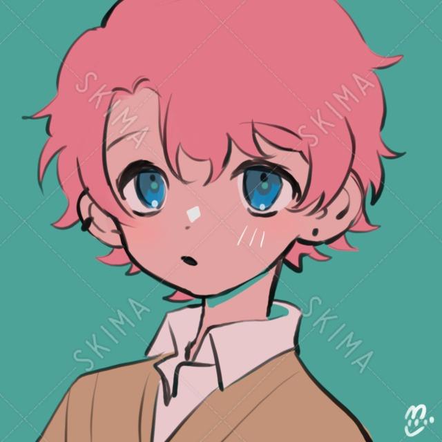 【SNSアイコン等に】ピンク髪の男の子【アイコン】