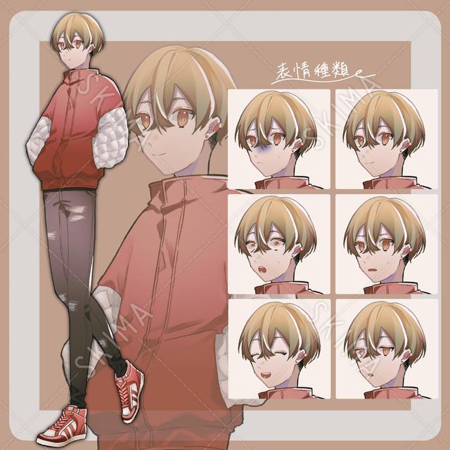 マッシュヘアーの男の子 表情6種類