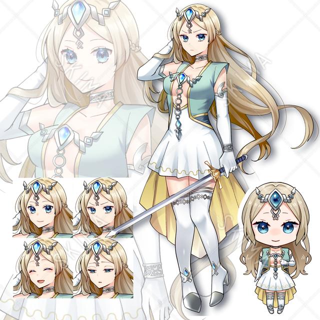 ファンタジー女の子(表情4種・剣ありなし・ミニキャラ付き)