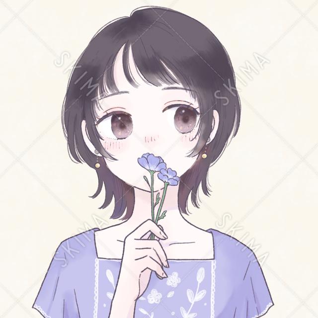 お花とウルフカットの少女アイコン|背景差分あり