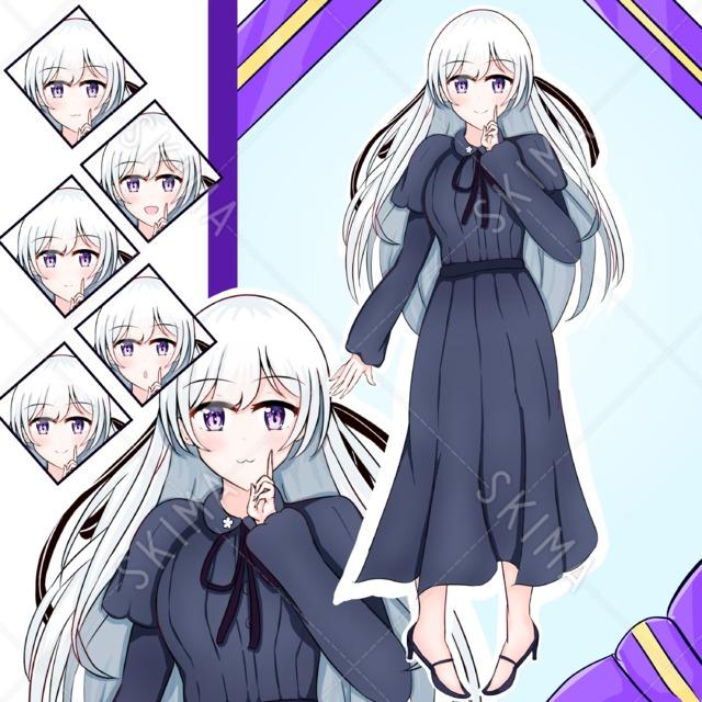 黒ドレスの白髪少女