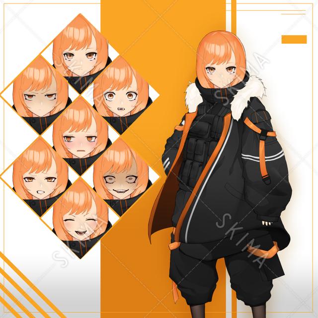 ミリタリーっぽい衣装の女の子【表情7種】