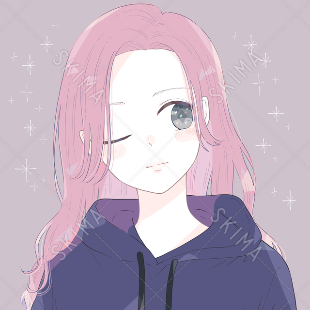 ピンク髪の女性アイコン|背景差分あり