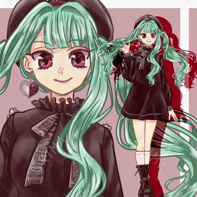 【表情3種】緑ツインテールの女の子