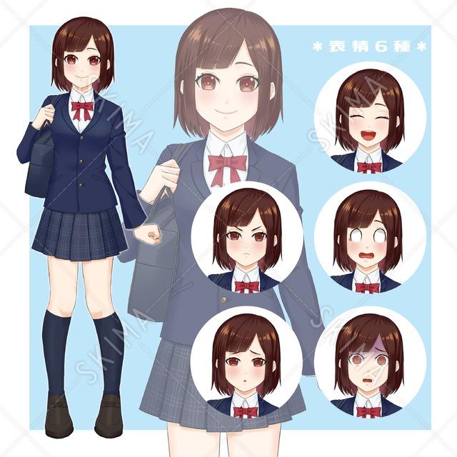 【立ち絵】シンプル女子生徒【表情6種】