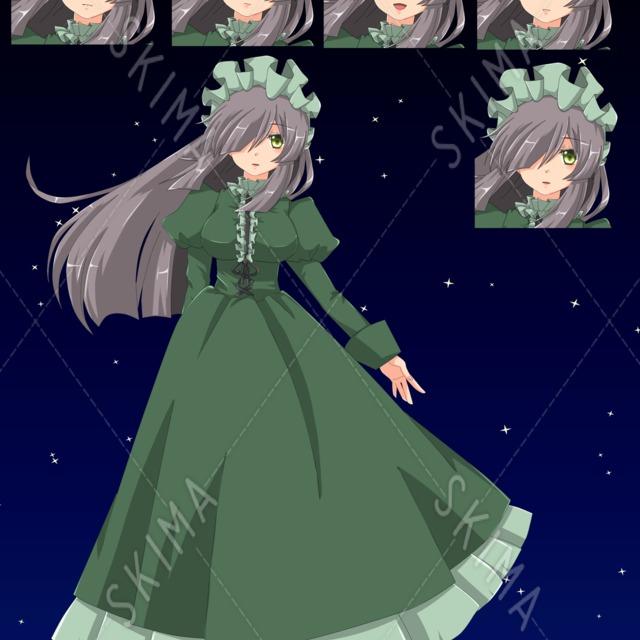 ドレスの少女【全身・表情5種】