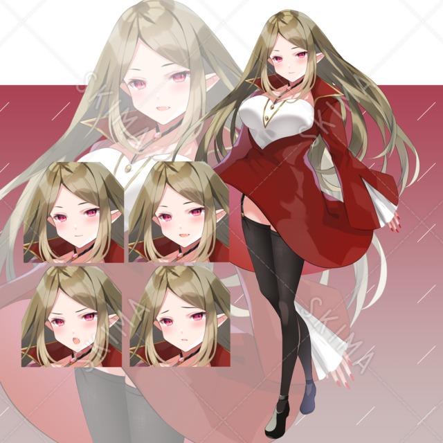 【表情4種】吸血鬼風の女性