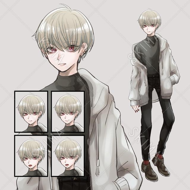 【adopt】ダウナー系男性全身_表情差分×5