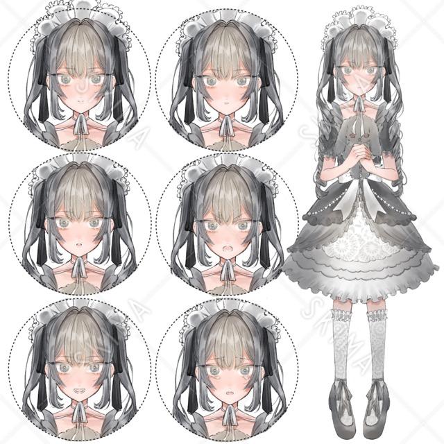 ゴスロリ少女(表情6種)