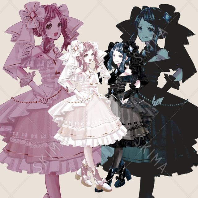 【2Pカラーセット】白&黒いドレスの女の子