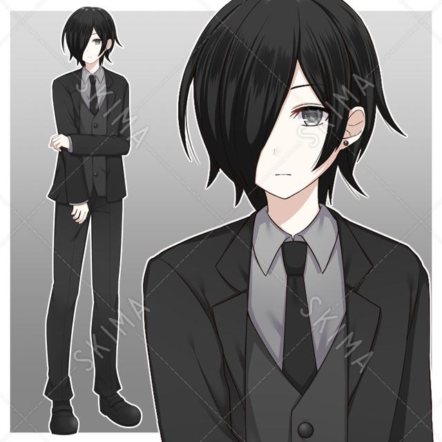 黒スーツを着た青年【表情差分10種】