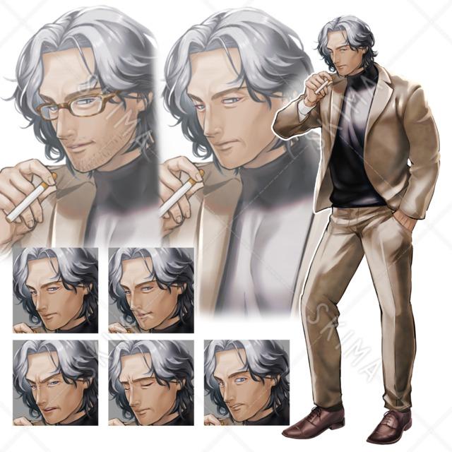 【全10枚】スーツのおじさん【眼鏡ヒゲ差分有】タバコ 壮年 私服 男性