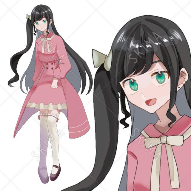 黒髪ピンク少女+表情8種
