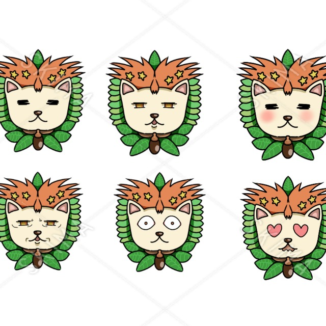 ネコアイコン 表情6種