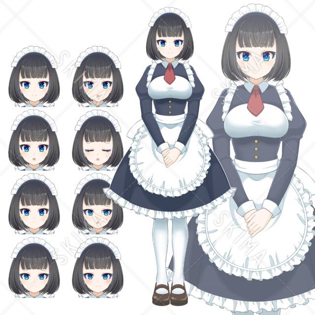 【全身立ち絵】黒髪メイド(表情8種)