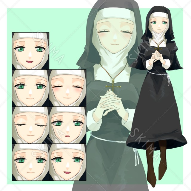 【立ち絵】シスターの女性【表情7種】