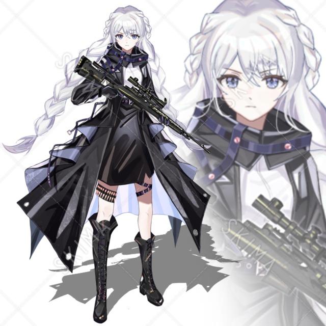表情4種 狙撃手 黒いロングコート 白髪の三つ編み スナイパーライフル