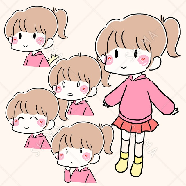 かわいい!ゆるふわ女の子(表情差分&全身)