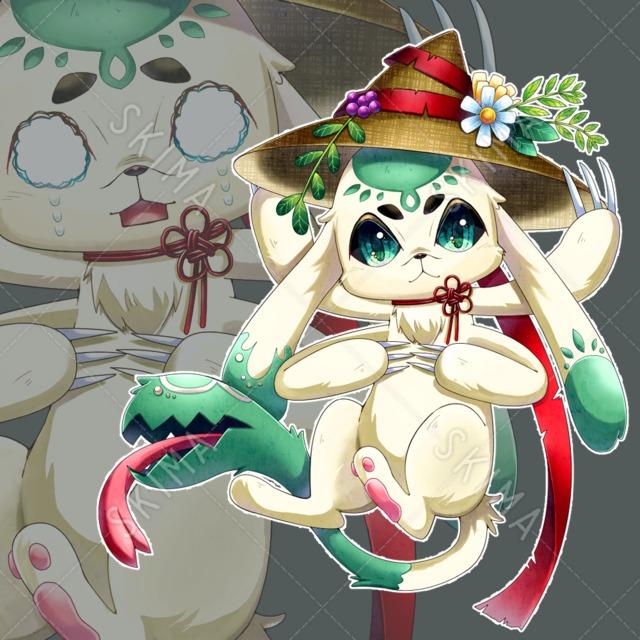 異形-草花×和×うさぎ(表情10種/背景透過)