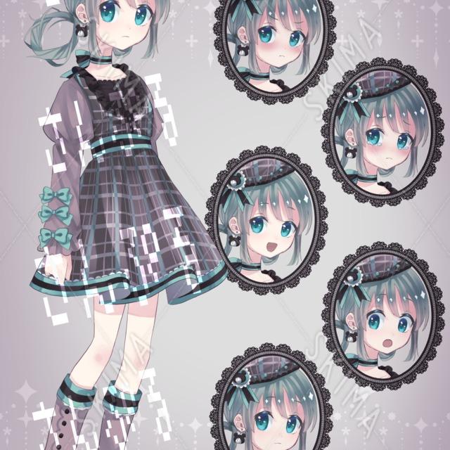 チョコミントカラーの女の子【全身立ち絵/表情5種】