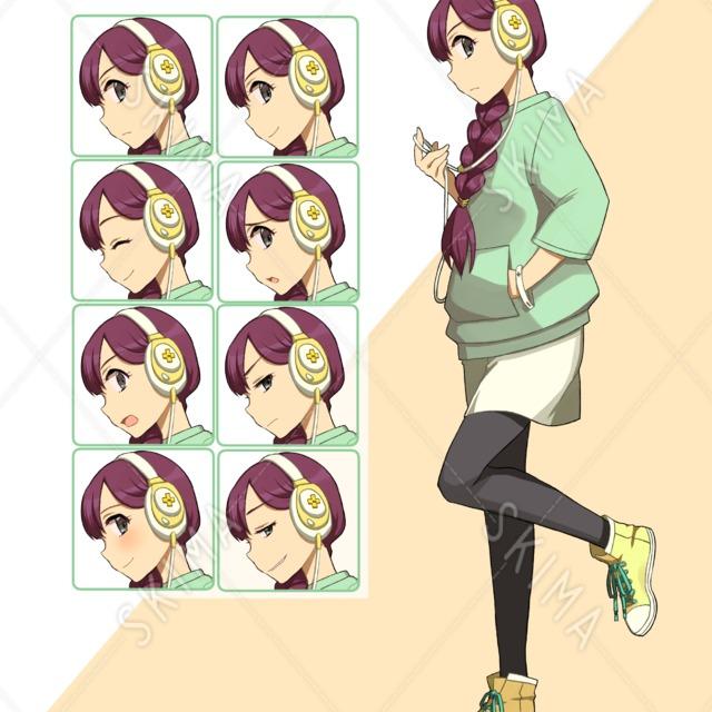【表情差分】ヘッドホンで三つ編みの女の子【8種】