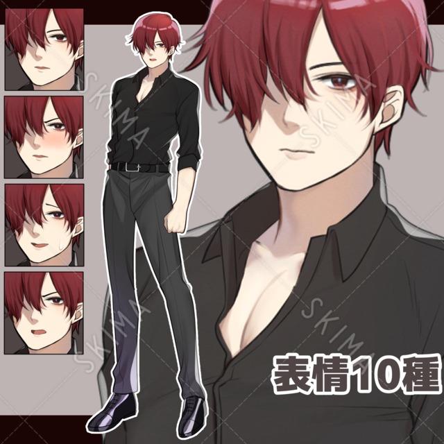 黒シャツを着た男性【表情10種】
