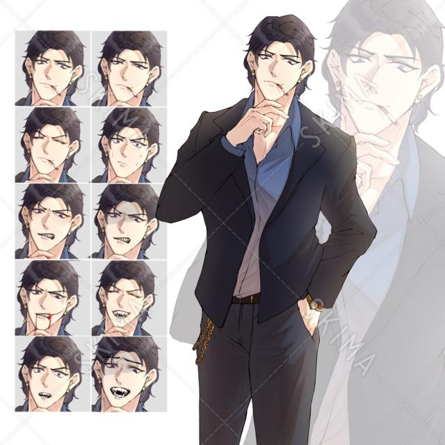【軽い流血表現あり】ギザ歯×スーツの男性【表情差分10種類】