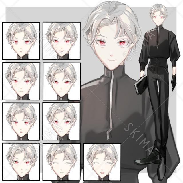 銀髪の男性【表情10種】