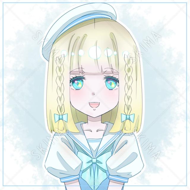 【アイコン】セーラー服の少女(背景透過Ver.あり)