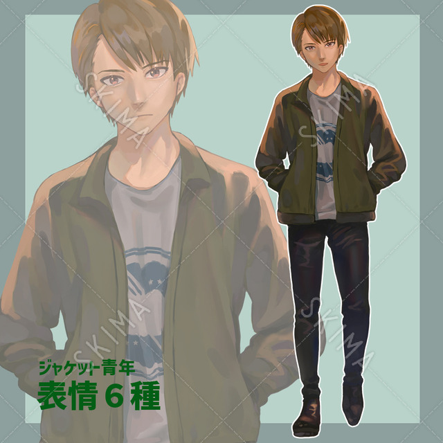 ジャケット男子【表情6種】