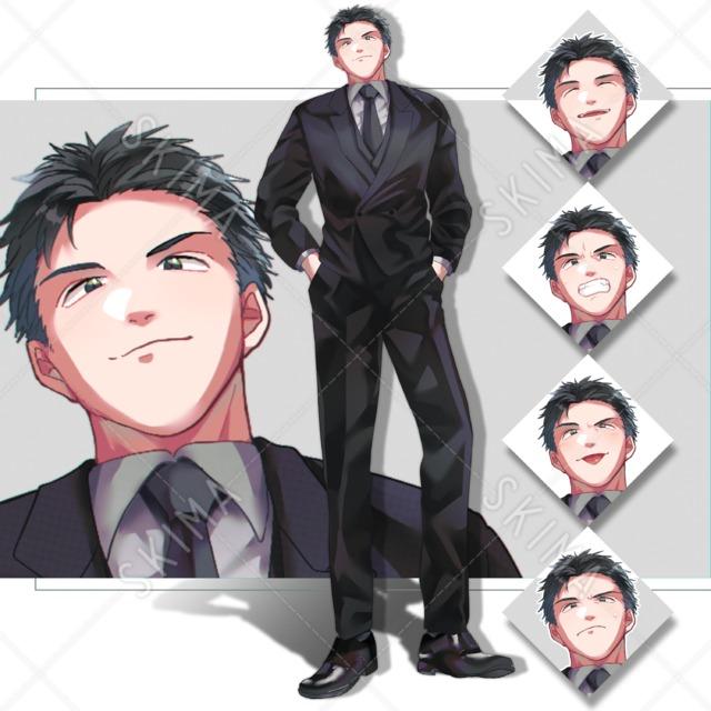 黒髪 短髪 スーツの男性 【表情差分5種】
